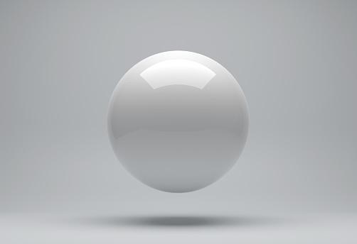 White sphere 3d render on background.