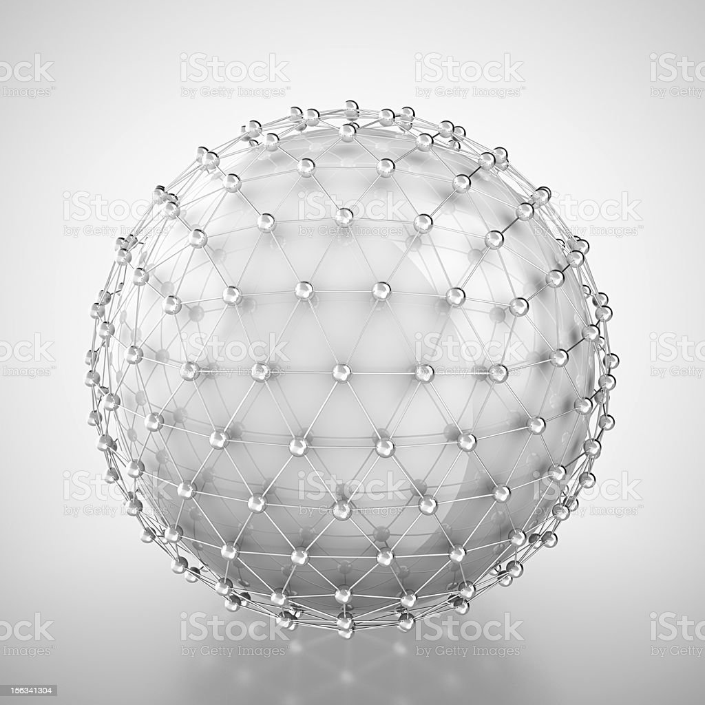 White sphere in metal cage stock photo