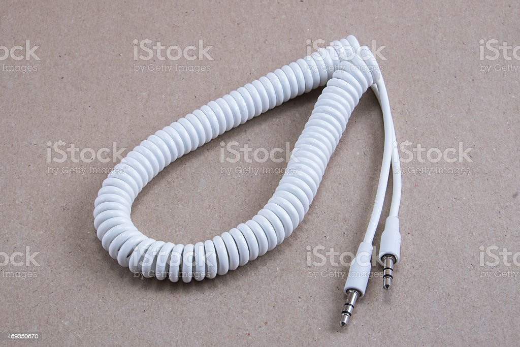 White spiral cable stock photo