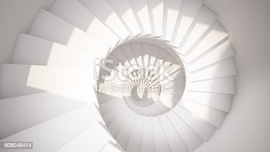 White spiral stairs in sun light abstract interior