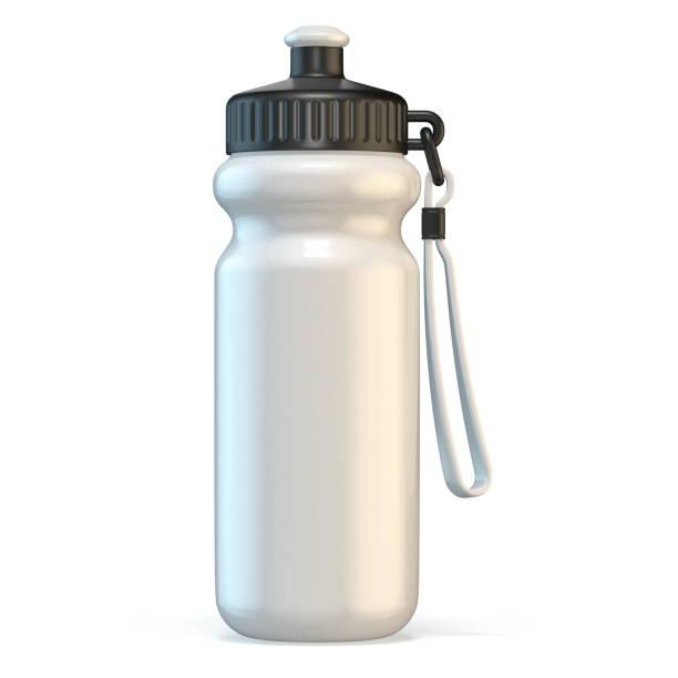 garrafa de água plástica branca do esporte 3d que está - sports water bottle - fotografias e filmes do acervo