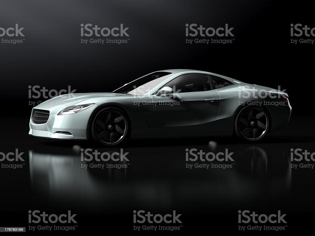 White sports car in a dark space stock photo