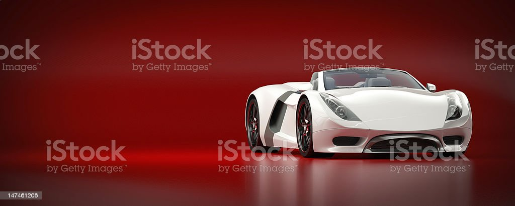 White Sports Car on a Red Background royalty-free stock photo
