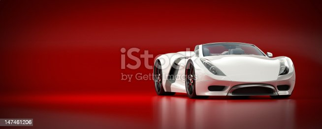 A sleek white sports car against a red background. This car is designed and modelled by myself. Very high resolution 3D render. All markings are fictitious.