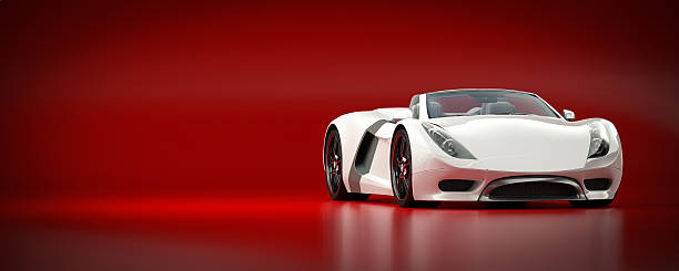 White Sports Car on a Red Background A sleek white sports car against a red background. This car is designed and modelled by myself. Very high resolution 3D render. All markings are fictitious. luxury car stock pictures, royalty-free photos & images