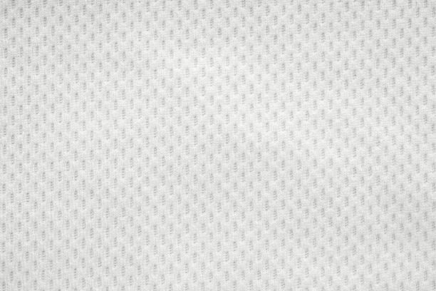 Weiße Sportbekleidung Stoff Trikot Fußball-Shirt Textur Textur Top-Ansicht aus der Nähe – Foto