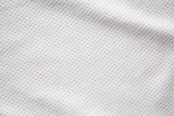 white sports clothing fabric jersey - grid pattern stock photos and pictures