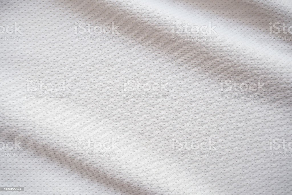 White sports jersey fabric texture background stock photo