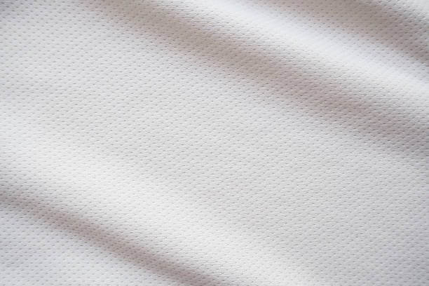 white sports jersey fabric texture background - mesh textile stock photos and pictures