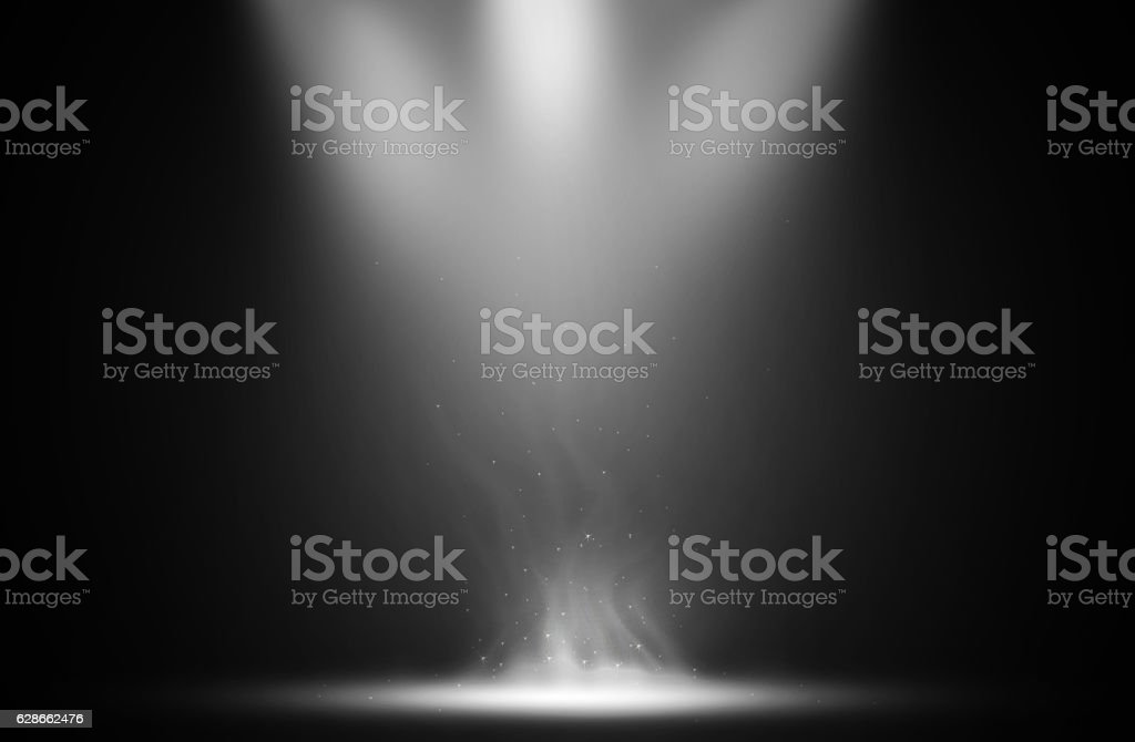 White spotlight smoke effect design background. stock photo