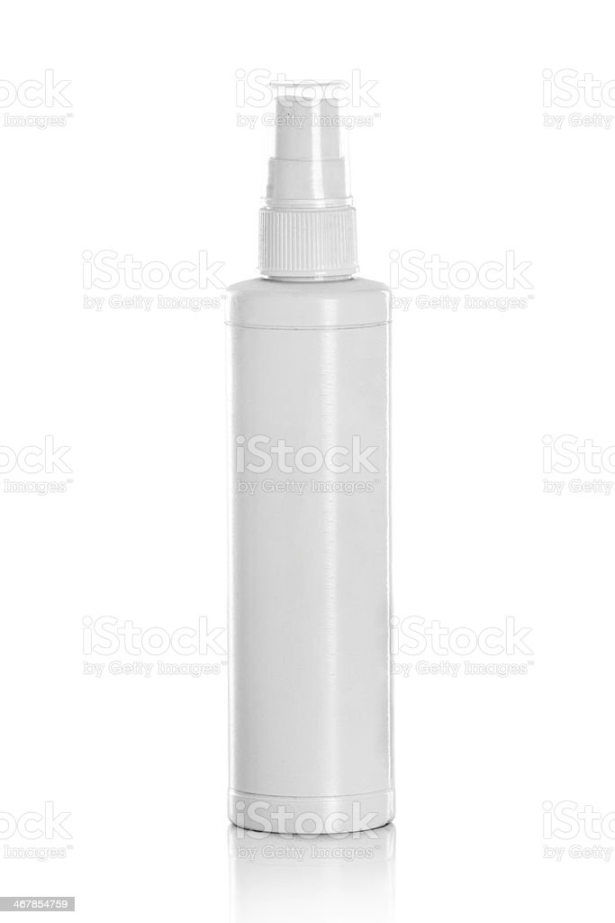 white spray bottle isolated stock photo