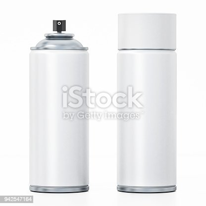 White spray paint cans isolated on white.