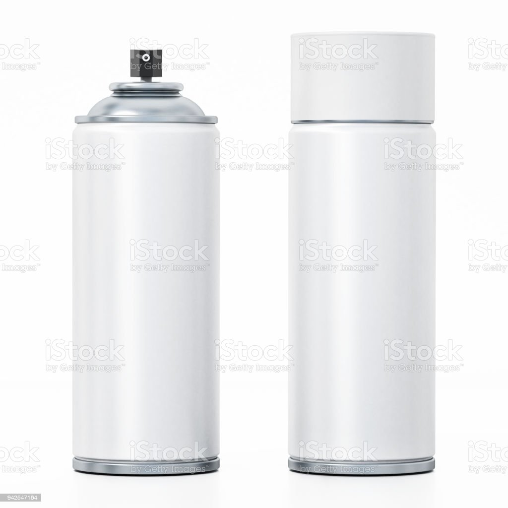 White spray paint cans isolated on white stock photo