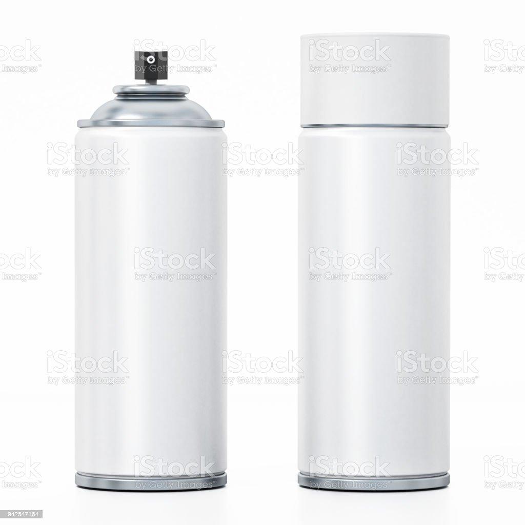 Boîtes de peinture en aérosol blanc isolés sur blanc - Photo