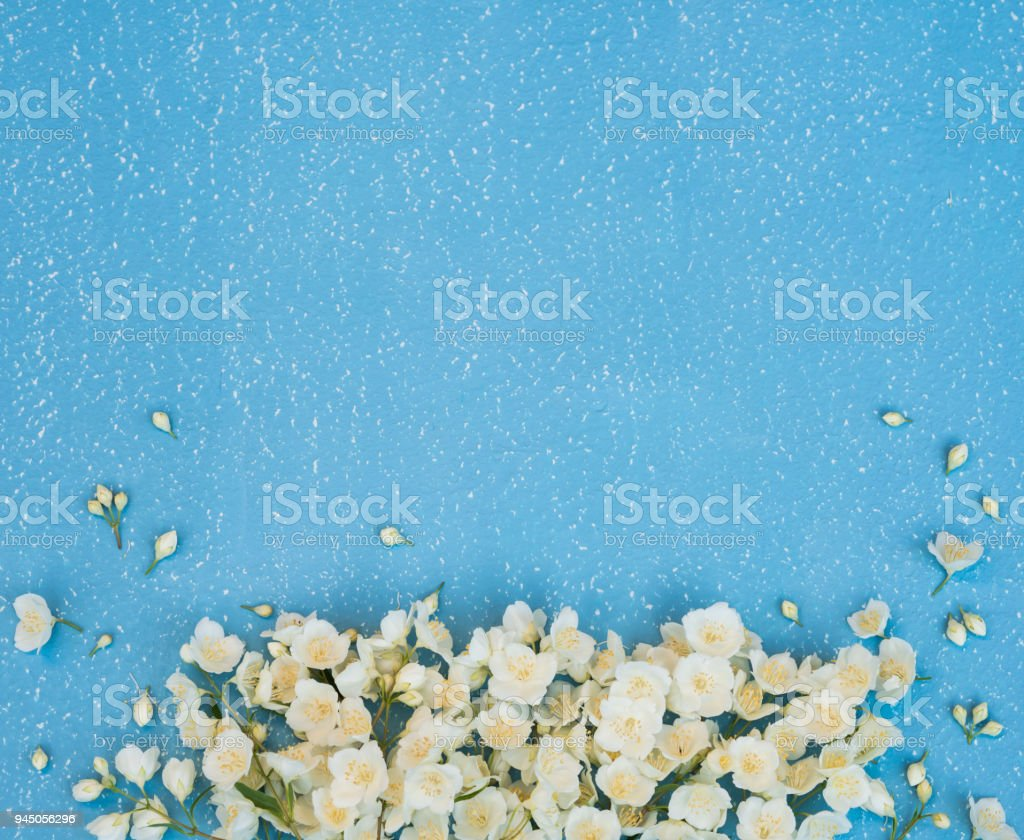 White spring flowers jasmine flowers bouquet on blue grunge textured white spring flowers jasmine flowers bouquet on blue grunge textured background copy space royalty izmirmasajfo