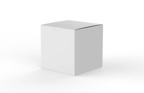 witte vierkante lege doos geïsoleerd op een witte achtergrond, 3d illustratie - stadsplein stockfoto's en -beelden
