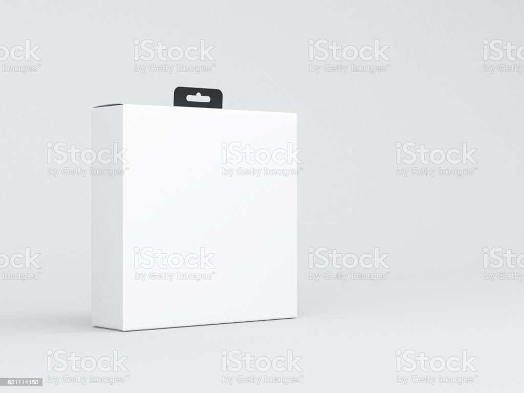 White Square Cardboard Box Mockup packaging with black Hang Tab stock photo