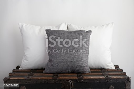 Mock up of white square cushions with grey square cushion on old vintage suitcase. Ready for your own design, text or copy.
