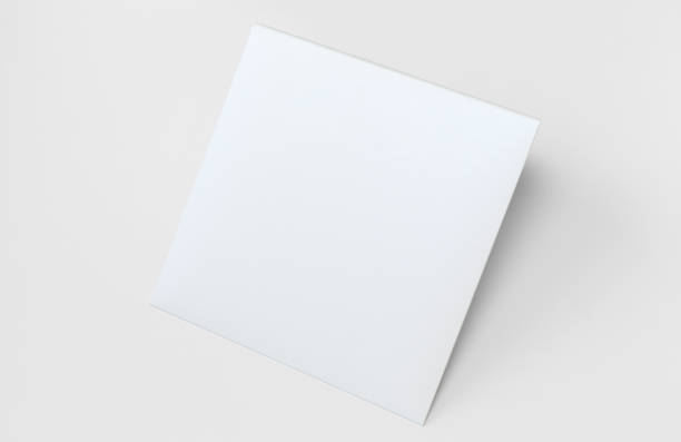 White square envelope from design paper, Blank Mock Up for Presentation with Isolated white background stock photo