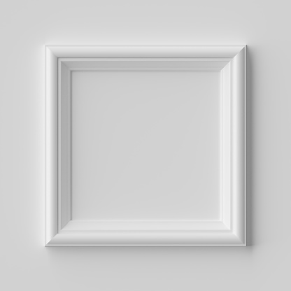 White blank square frame for photo on white wall with shadows, white colorless picture frame template, art frame mock-up 3D illustration