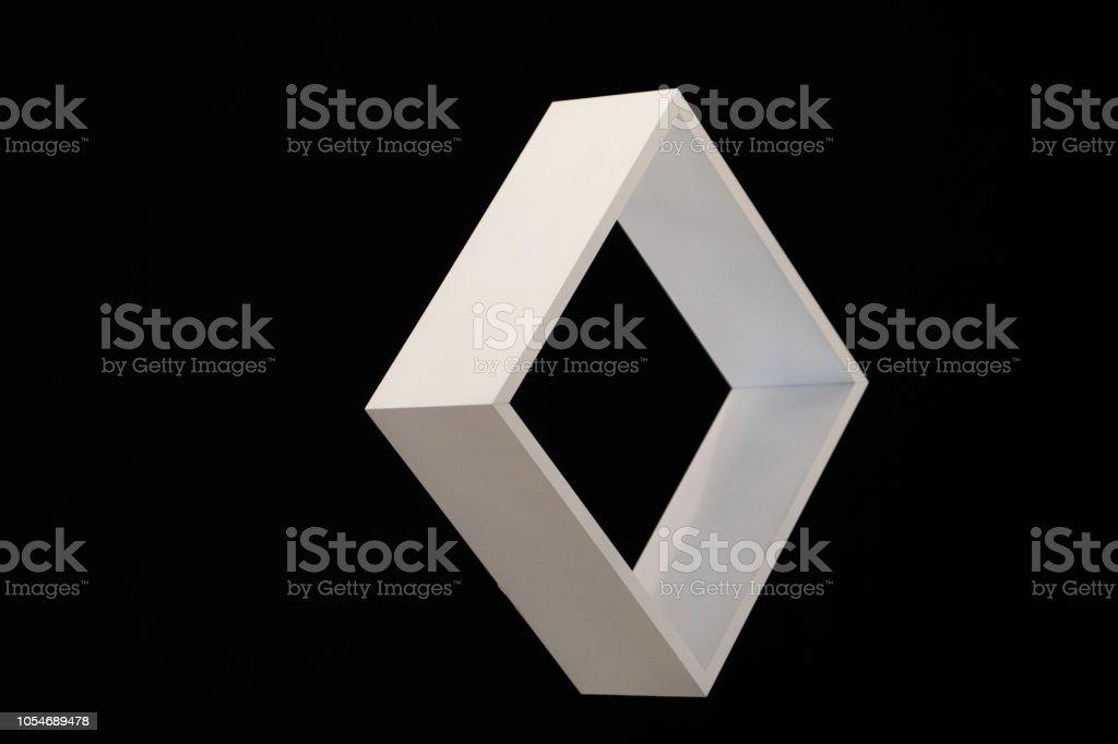white square frame isolated on black background, black and white, freestanding white box, stock photo