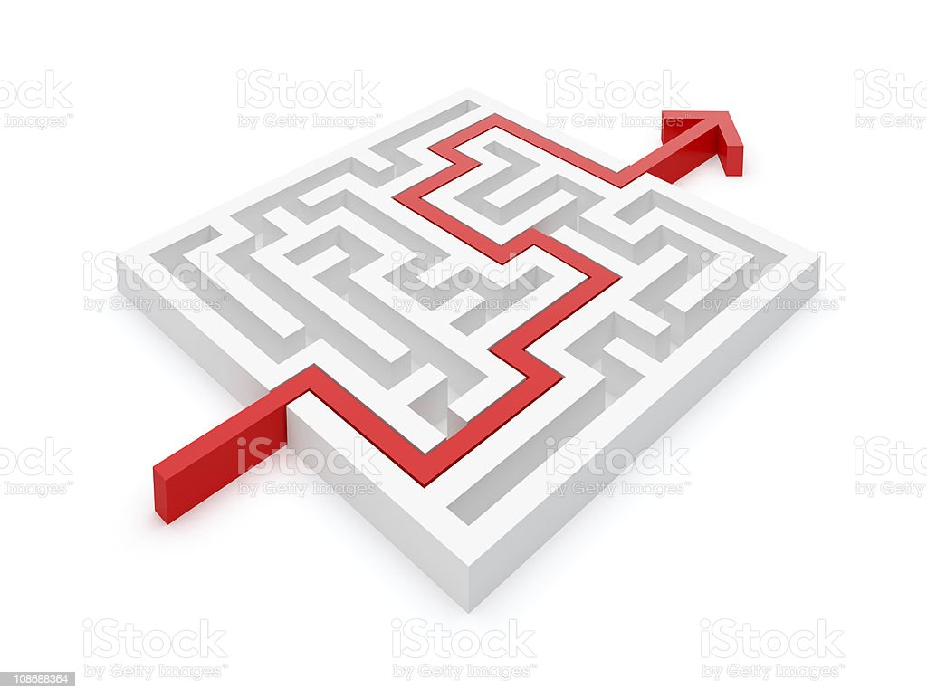 White square labyrinth with a red puzzle going through stock photo
