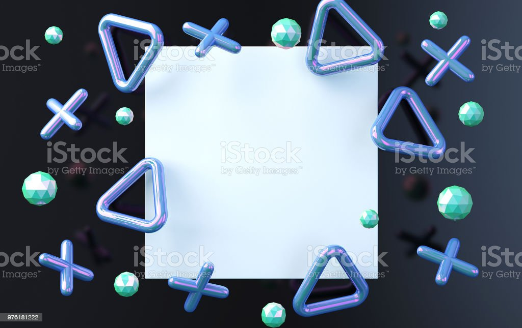 White square on an black background with smoothed crosses and triangles, a background with blue blots, a holographic foil,  render stock photo