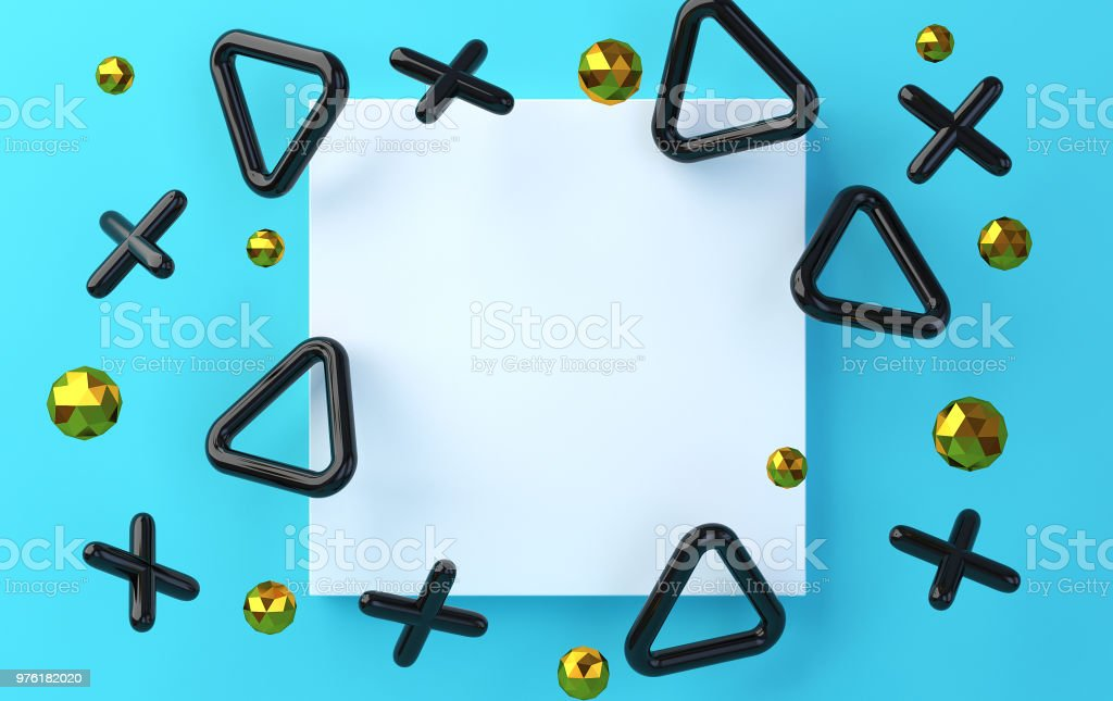 White square on an blue background with smoothed crosses and triangles, a background with blue blots, a holographic foil,  render stock photo