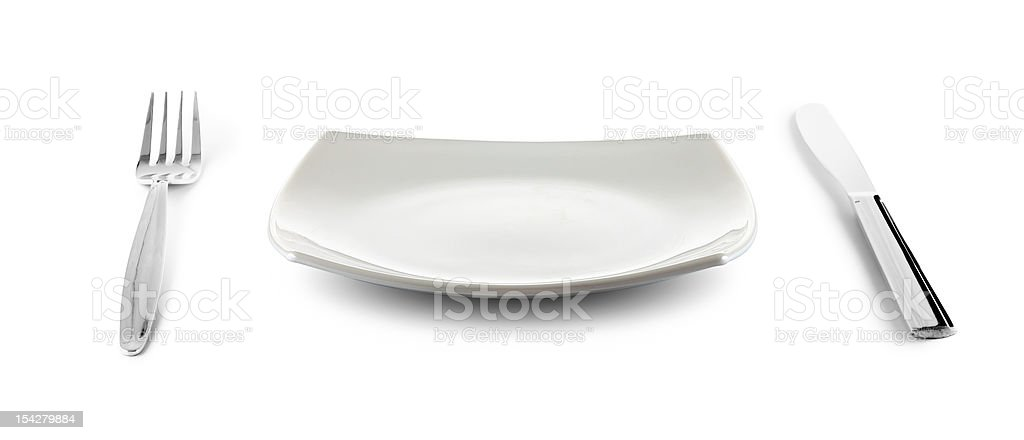 white square plate, knife and fork cutlery isolated with clippin stock photo