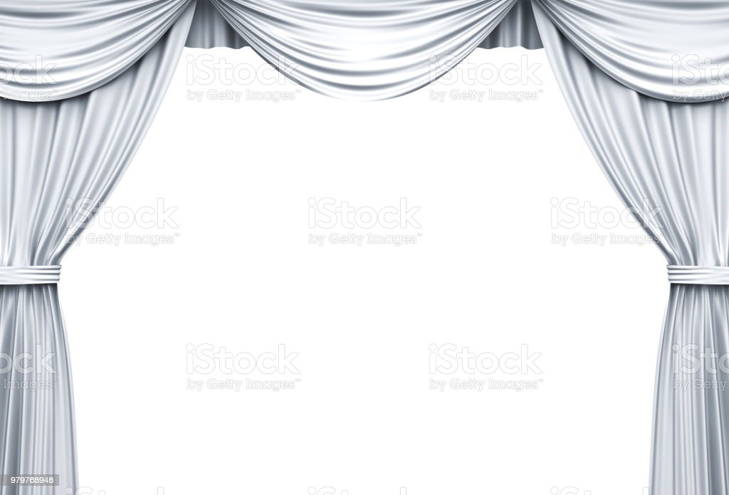 White Stage Curtains Isolated Over White Background 3d Rendering