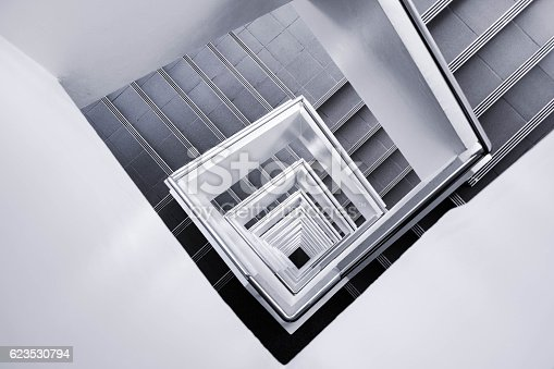 istock White stair go down to the ground 623530794