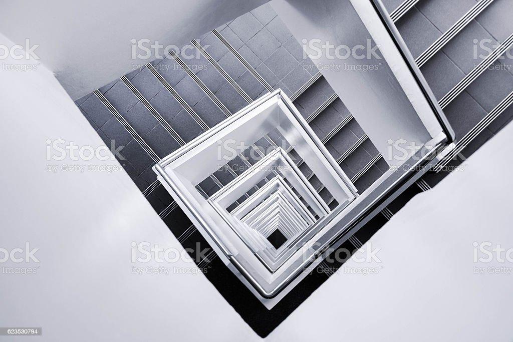 White stair go down to the ground stock photo