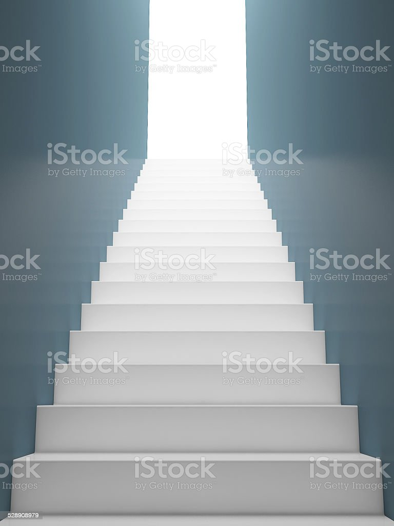 White Staircase to the Exit, Blue Walls stock photo
