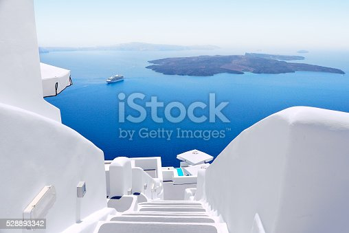 istock White staircases and Mediterranean sea view on Santorini, Greece 528893342