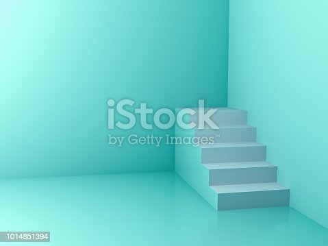 White stairs in the corner with green pastel color wall background 3D rendering