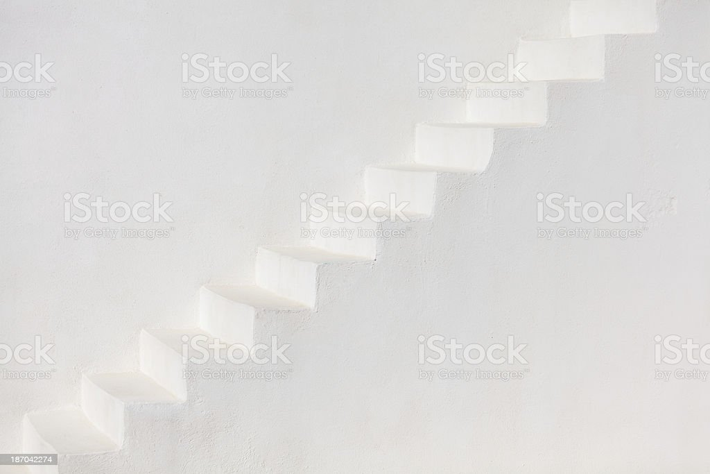 White stairs on a church wall, Santorini royalty-free stock photo