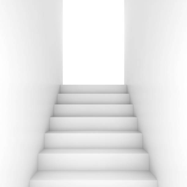 white stairway goes up to glowing door - marches marches et escaliers photos et images de collection