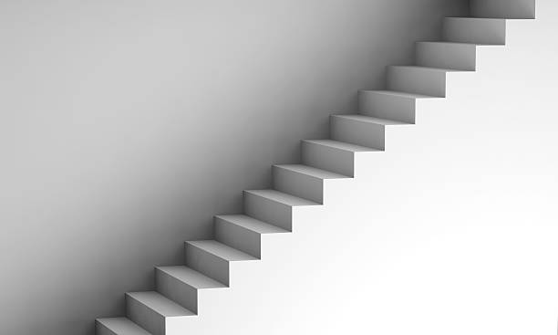 escalier blanc sur le mur 3d de l'intérieur de l'arrière-plan - marches marches et escaliers photos et images de collection