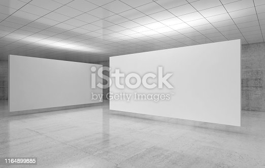 istock White stands installation is in exhibition room 1164899885