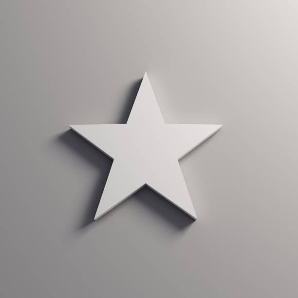 weißer stern-symbol. 3d render-illustration - kunst 1. klasse stock-fotos und bilder