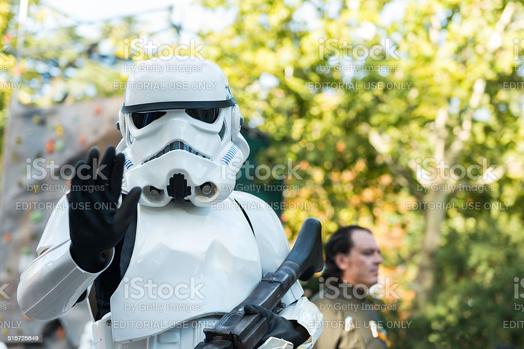 White Star Wars Stormtrooper in Madrid stock photo