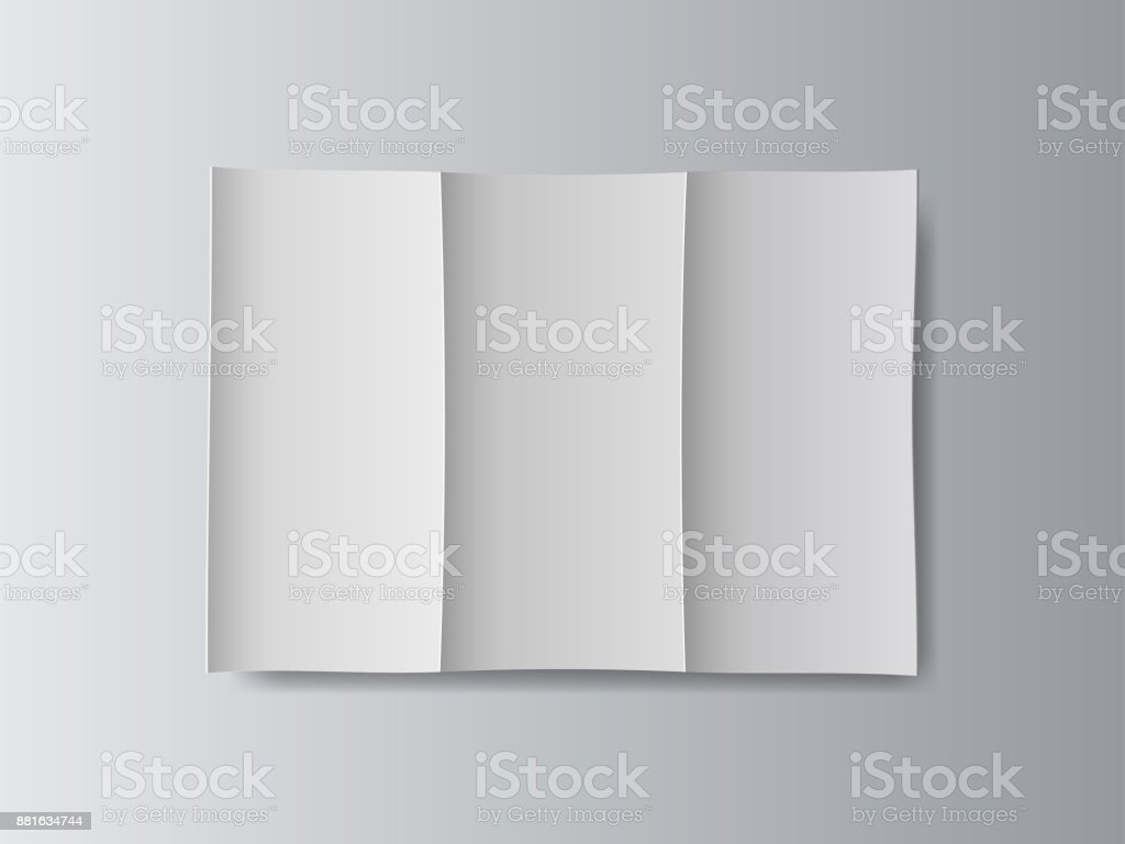 White stationery blank tri fold paper size a4 brochure on gray background with soft shadows. Vector illustration. stock photo