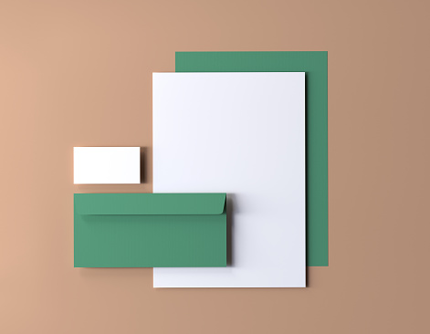 Corporate identity mockup, blank stationery set and business card