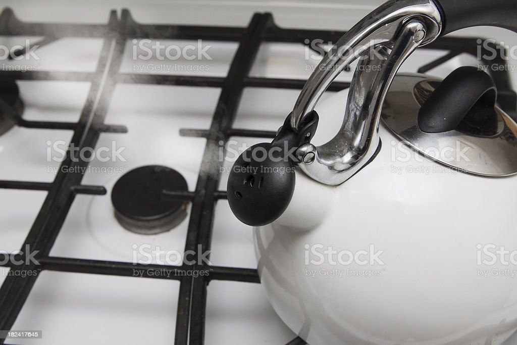 White Steaming Teapot royalty-free stock photo