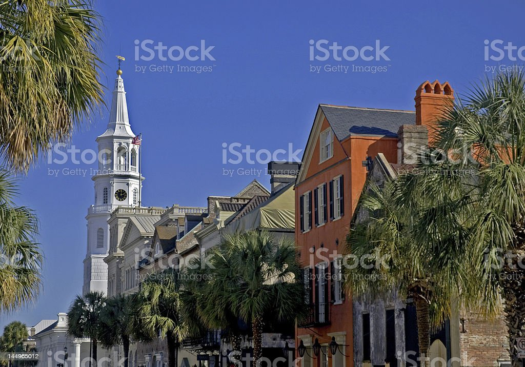 White Steepled Church on the Streets of Charleston stock photo