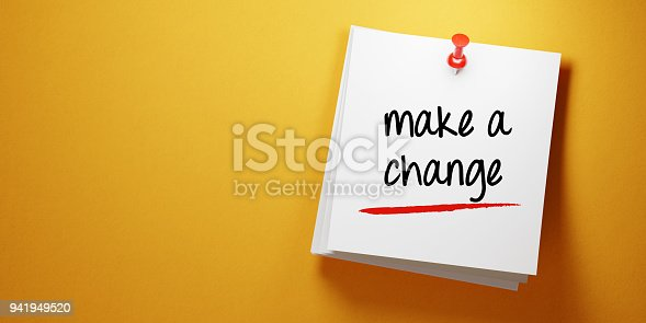 High quality 3d render of a white sticky note with red push pin  on yellow background. Make a change writes on sticky note and it is casting soft shadows on yellow background. Horizontal composition with copy space. To Do List concept.