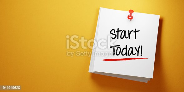 High quality 3d render of a white sticky note with red push pin  on yellow background. Start today writes on sticky note and it is casting soft shadows on yellow background. Horizontal composition with copy space. To Do List concept.