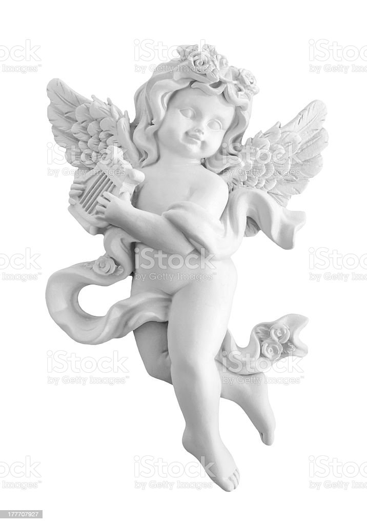 A white, stone angel statue on a white background stock photo