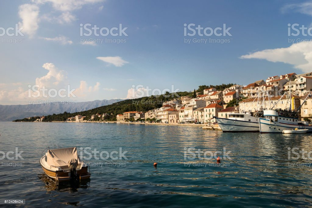 White stone houses on slope of the hill stock photo