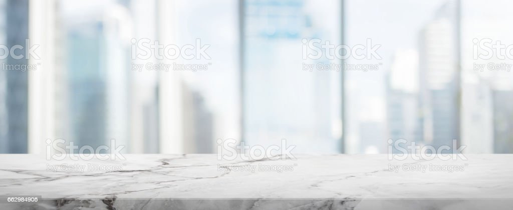 White Stone table top and blur glass window wall building banner background stock photo